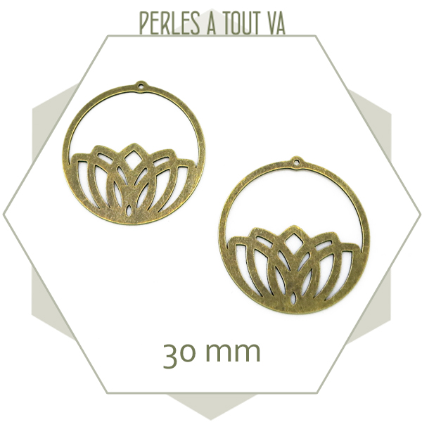 vente breloques creoles lotus bronze