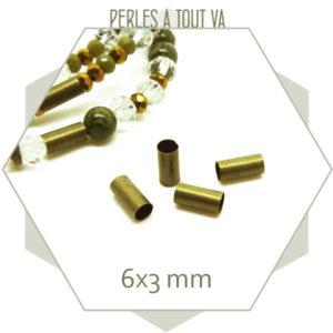 Achat perles tubes bronze