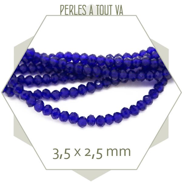 40 Perles en Verre Crystal Bleu 4mm Facette perle 4 mm creation bijoux