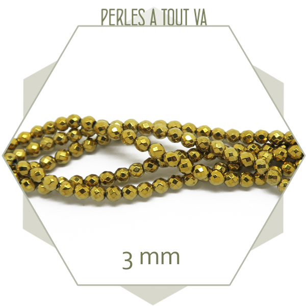 rang de perles hématite doré