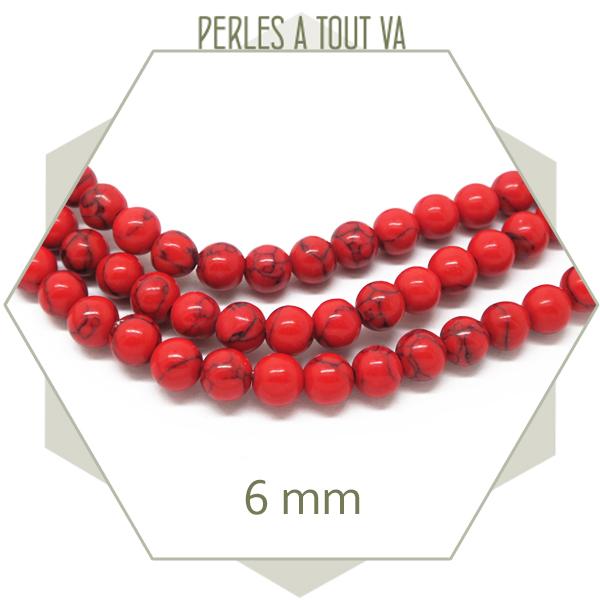 perles howlite rouge