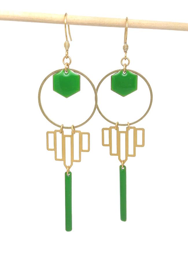 boucles verte et dorées DIY