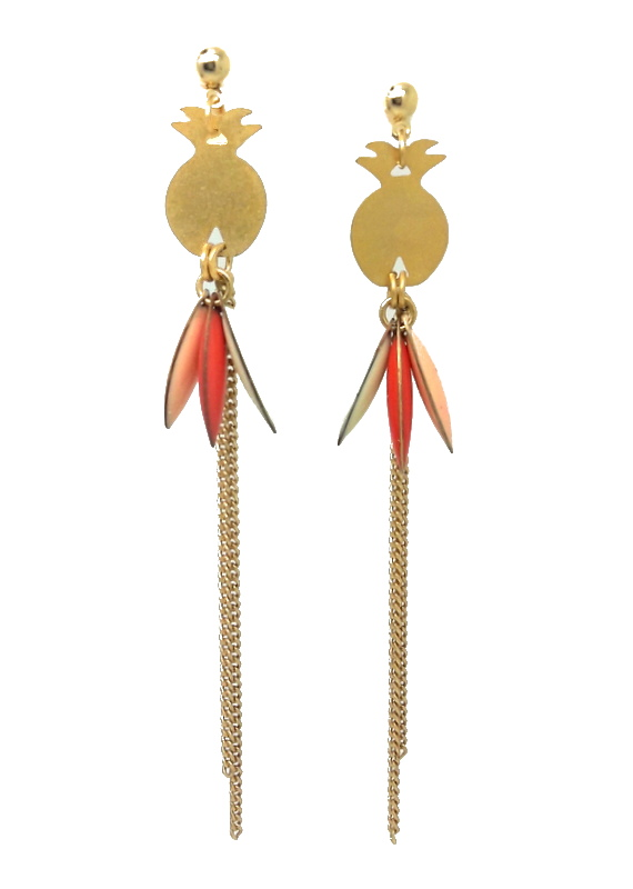 création boucle d'oreilles ananas doré
