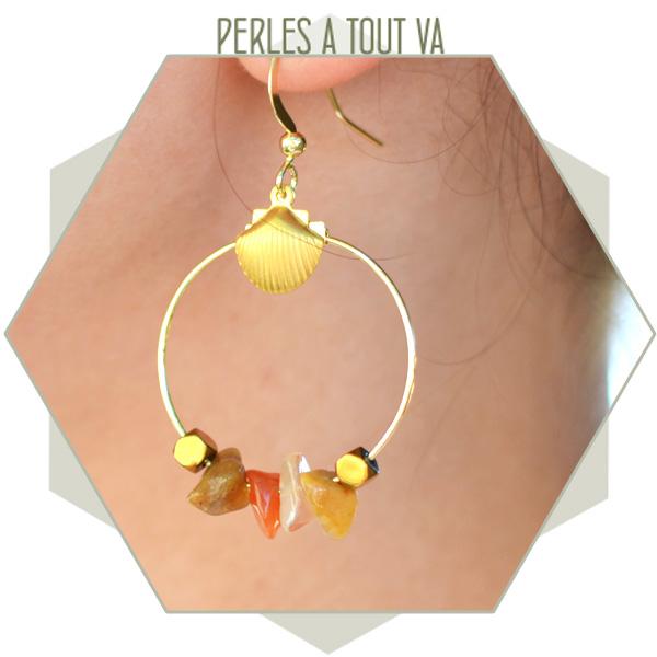 idée boucles d'oreilles perle chips