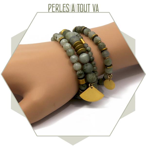 modèle bracelet perles labradorite