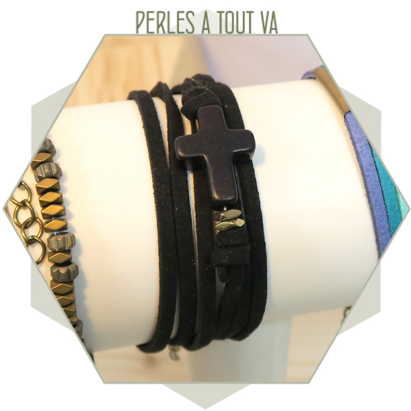 Idée création bracelet suédine noir