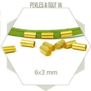 matériel perles tubes dorées