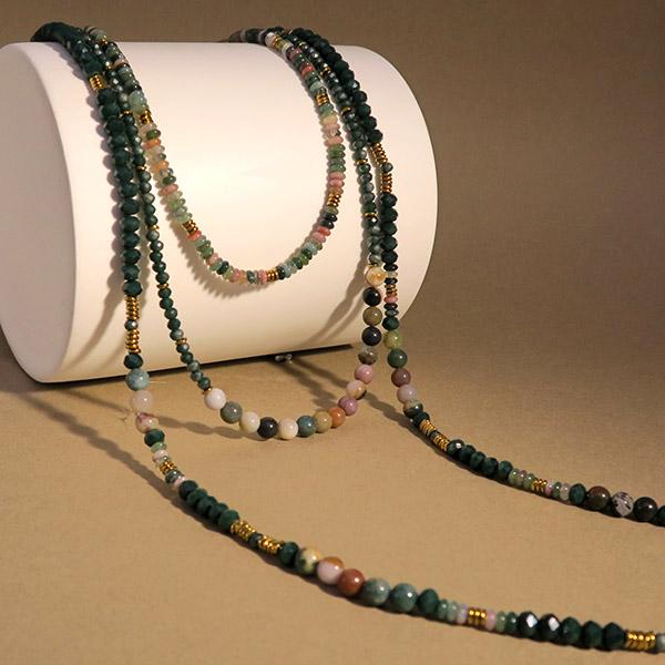 Sautoir multi rangs perles
