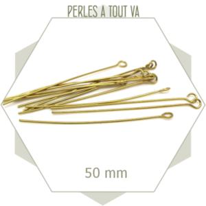 50 tiges à oeillet en laiton brut 50 mm, apprêts bijoux