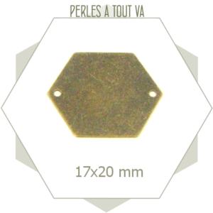 8 grands connecteurs hexagones bronze, sequins faces lisses
