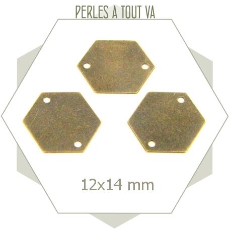 8 petits connecteurs hexagones bronze - perles à tout-va