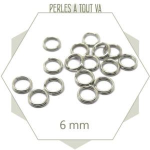 50 anneaux doubles argent 6mm