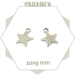 10 breloques étoiles en acier 10x9 mm