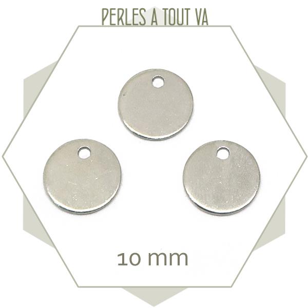 10 breloques rondes en acier 10 mm