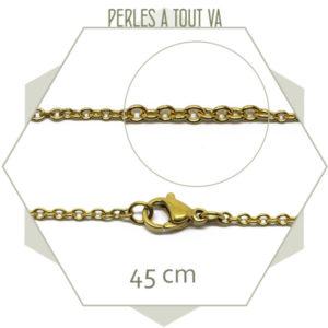 Lot 3 colliers 45 cm chaîne maillon ovale acier doré