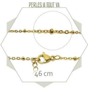 Lot 3 colliers 46 cm, maillon ovale et bille acier doré et chainette de réglage
