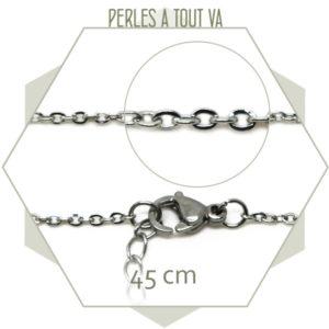 Colliers 45 cm chaîne maillon ovale acier, chainette de réglage