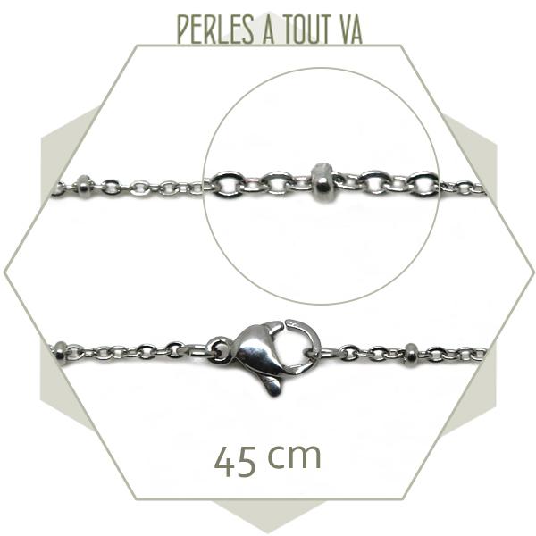 Lot 3 colliers 45 cm chaîne bille et maillon en acier inox