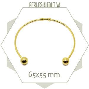 2 bracelets torque en acier doré, bracelet jonc doré