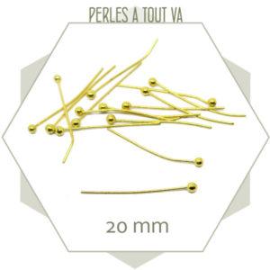 50 tiges métalliques billes dorées, grossiste apprêts bijoux