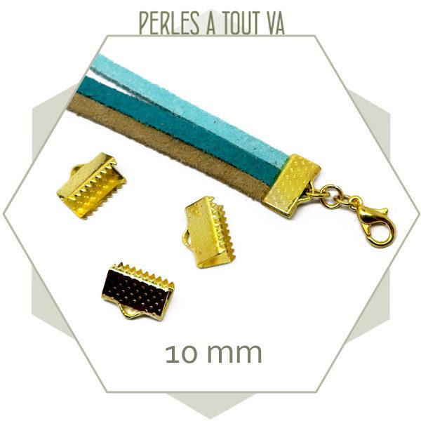 20 embouts de biais 10 mm dorés, achat embouts cordons