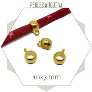 12 bélières boules dorées 7mm connecteur