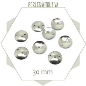 Connecteurs ronds argentés, imitation boutons pour création bijou