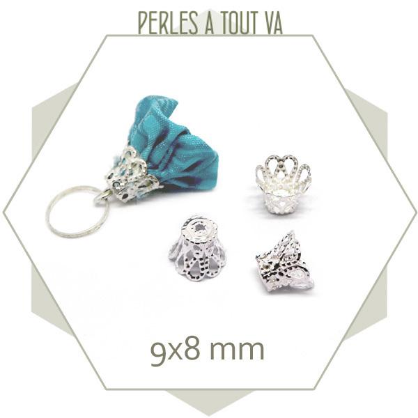 40 chapeaux de perles cloches argent