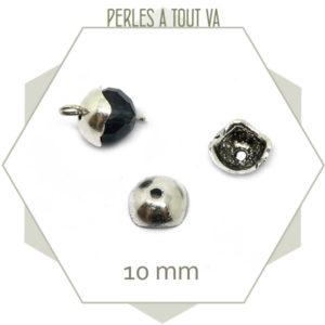 22 chapeaux de perles carrés  Argent - finition bijoux