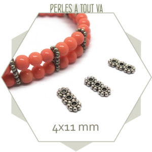 20 perles intercalaires 3 rangs argentées