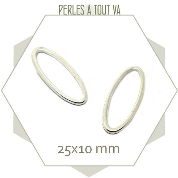 20 anneaux fermés ovales argent 25x10 mm