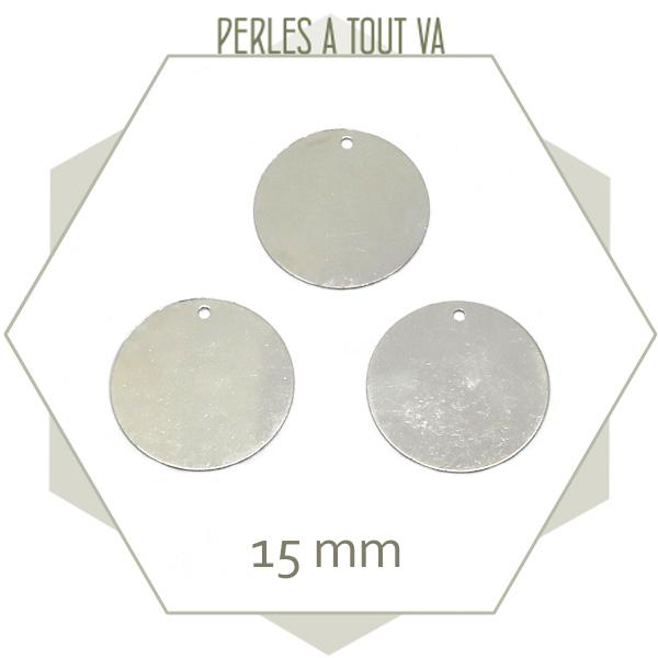 8 breloques rondes 15mm couleur acier