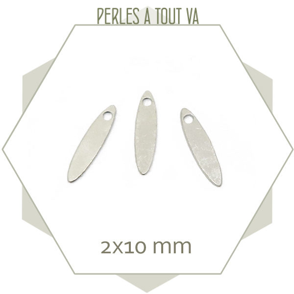 15 mini breloques navettes couleur acier 2x10mm
