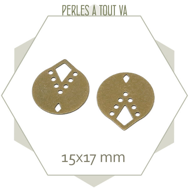 8 breloques rondes indiana couleur bronze