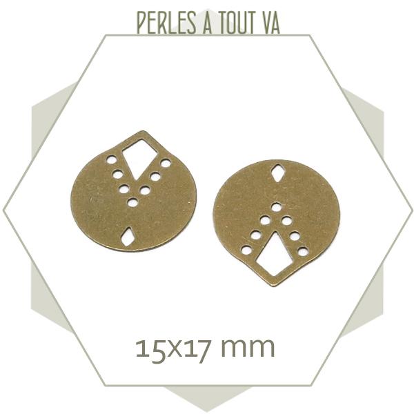 8 breloques rondes indiana couleur bronze
