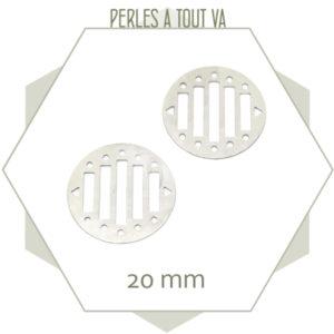 6 breloques rondes ajourées pour tissage, couleur argent