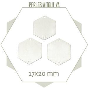 8 grands connecteurs hexagones argentés