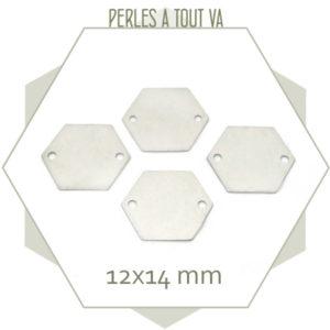 8 connecteurs hexagones couleur argent, vente breloques bijoux