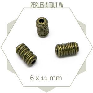 16 perles tubes bronze, cache noeud