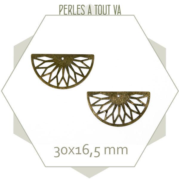 6 breloques demi cercle rosace bronze