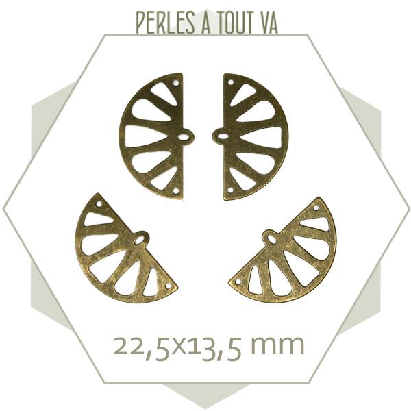 8 breloques demi cercle citron bronze