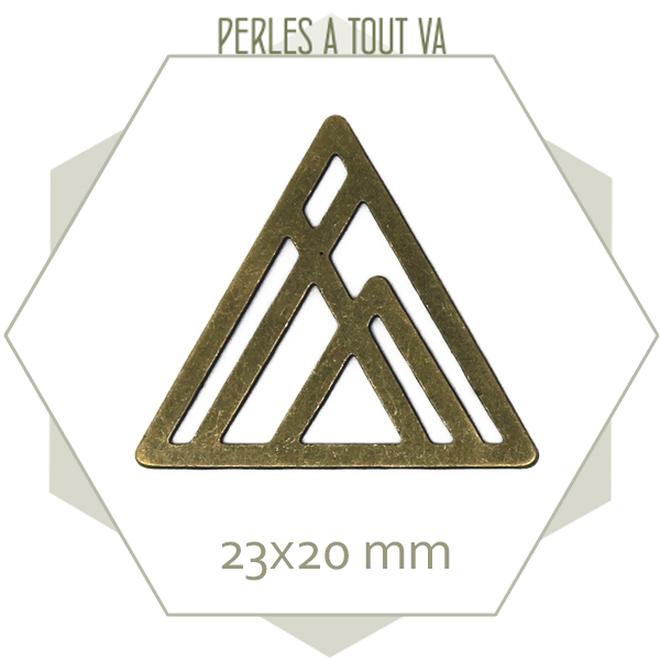 8 breloques montagne géométrique bronze