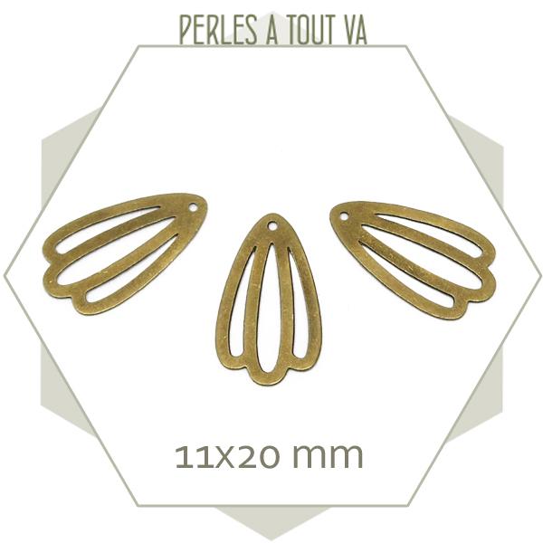 8 breloques pétales couleur bronze
