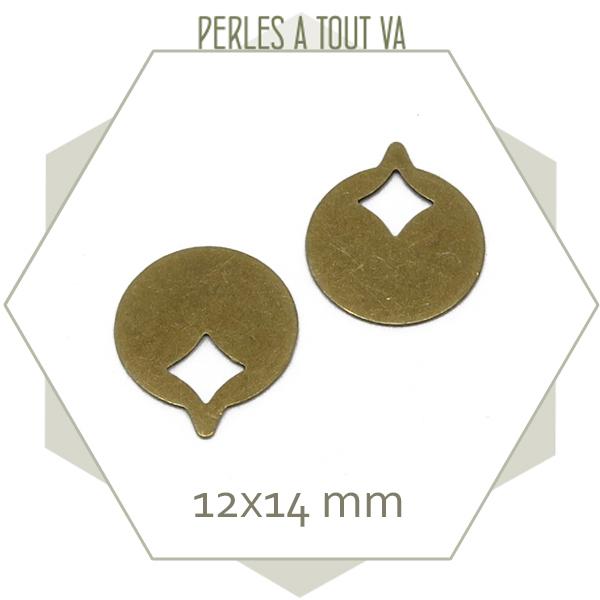 8 breloques rondes vénus couleur bronze