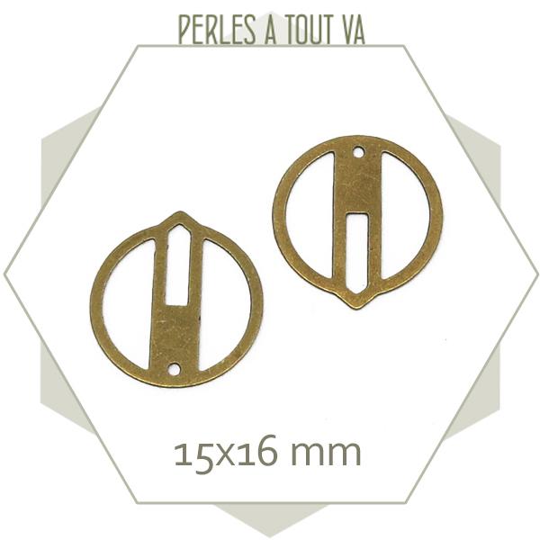 8 breloques cercle ajouré zen, couleur bronze