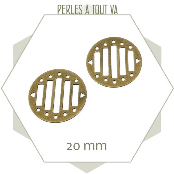 6 breloques rondes ajourées pour tissage, couleur bronze