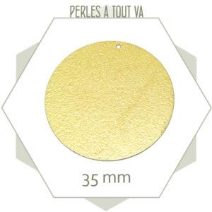 6 breloques grand cercle effet granité doré mat 35 mm