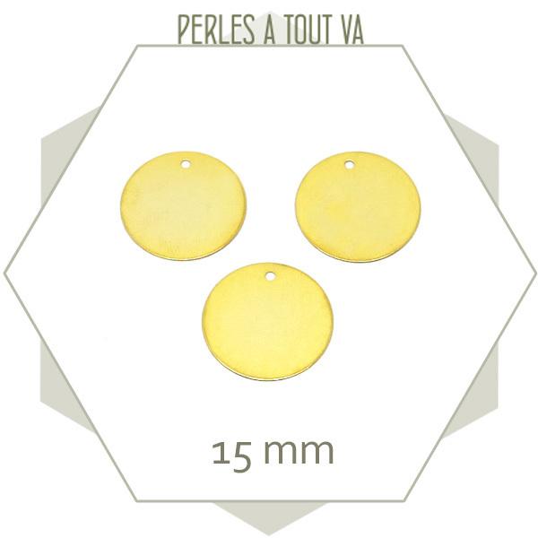 8 breloques petits cercles lisses dorés