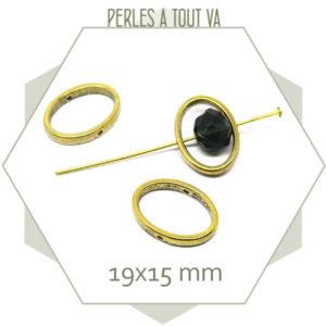 8 perles anneaux percés ovales dorés