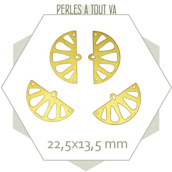 8 breloques demi cercle citron doré mat
